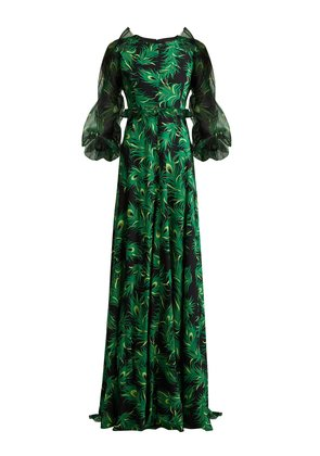 Peacock feather-print silk gown