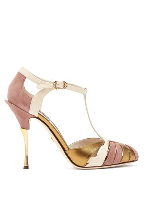 Metallic leather and suede T-bar sandals