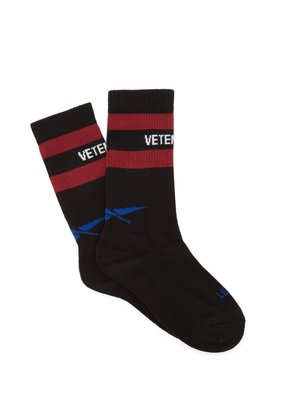 X Reebok logo striped cotton-blend socks
