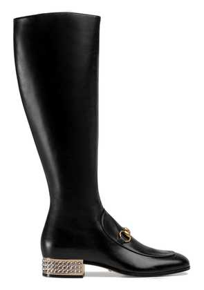 Gucci Horsebit leather knee boot with crystals - Black