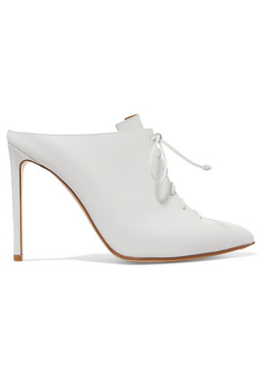 Francesco Russo - Lace-up Leather Mules - White