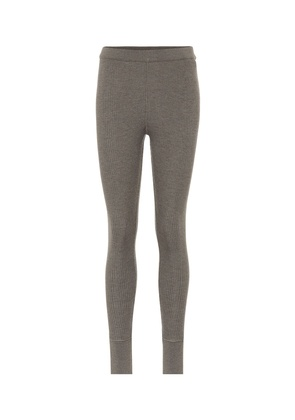 Ribbed knit wool leggings