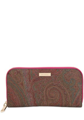 PAISLEY FAUX LEATHER ZIP AROUND WALLET