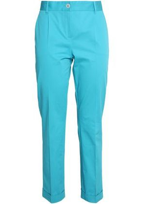 Dolce & Gabbana Woman Cotton-blend Twill Tapered Pants Turquoise Size 44