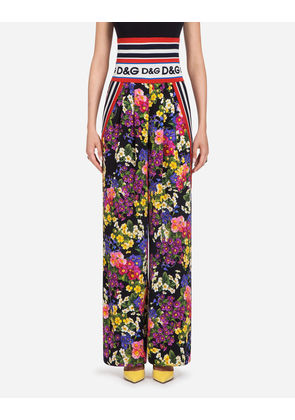 Dolce & Gabbana Trousers and Leggings - PRINTED SILK PANTS FLORAL PRINT