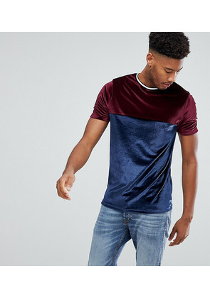 ASOS TALL T-Shirt In Velour With Contrast Yoke And Tipping - Navy/oxblood