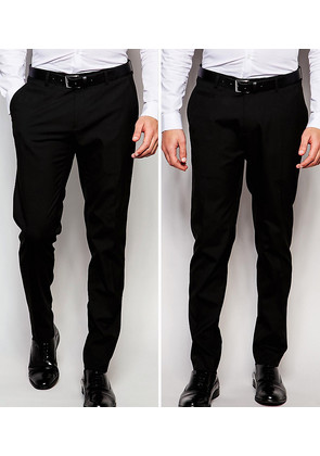 ASOS 2 Pack Skinny Smart Trousers in Black - Black