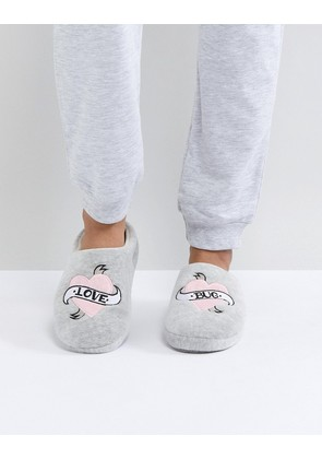 ASOS NEW BOO Love Bug Slippers - Grey