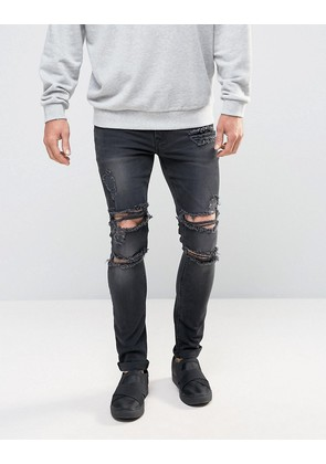 ASOS Super Skinny Jeans With Mega Rips In Washed Black - Washed black