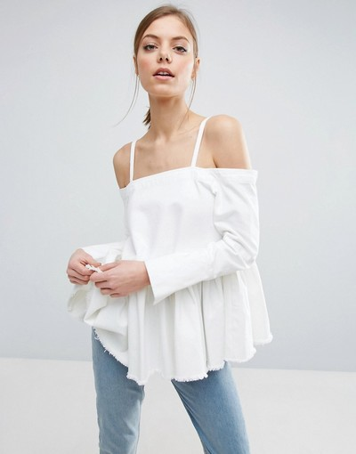 19bb76b8e45986 ASOS Denim Cold Shoulder Top With Pleated Peplum and Cuff Detail ...