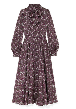 Co - Meteore Pussy-bow Floral-print Silk Maxi Dress - Purple