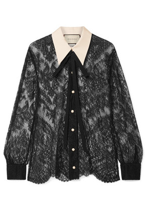 Gucci - Grosgrain-trimmed Pussy-bow Lace Blouse - Black