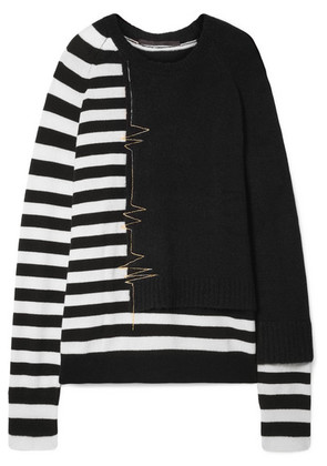 Haider Ackermann - Oversized Striped Wool-blend Sweater - Black