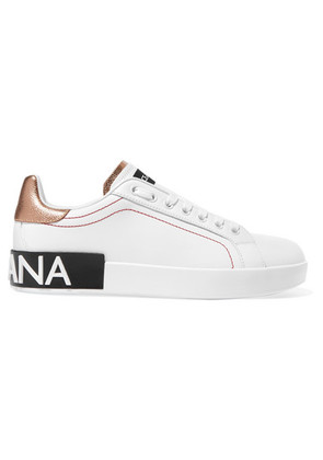 Dolce & Gabbana - Logo-embellished Metallic-trimmed Leather Sneakers - White