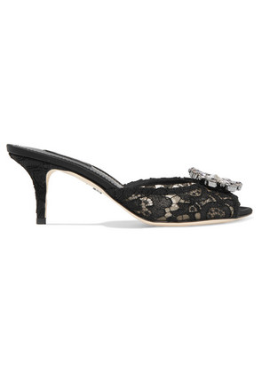 Dolce & Gabbana - Crystal-embellished Corded Lace Mules - Black