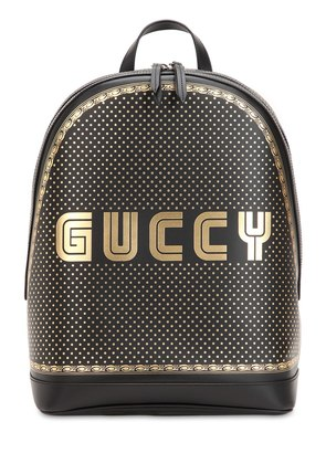GUCCY PRINTED LEATHER BACKPACK