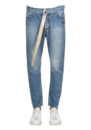 18CM 'BELT' CROPPED DENIM JEANS