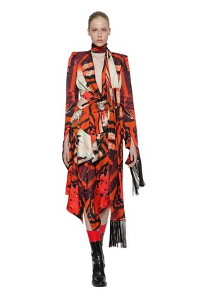 TIGER WING BUTTERFLY PRINTED SILK DRESS