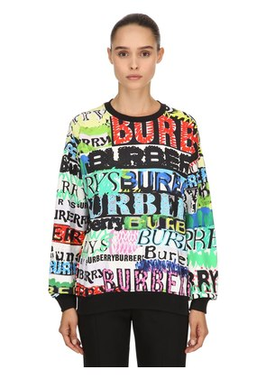 GRAFFITI PRINT COTTON JERSEY SWEATSHIRT