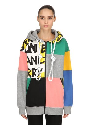 HOODED PATCHWORK ZIP-UP SWEATSHIRT