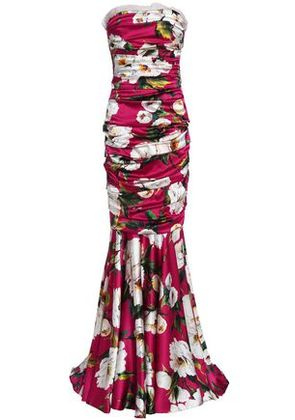 Dolce & Gabbana Woman Ruched Floral-print Stretch-silk Gown Magenta Size 40
