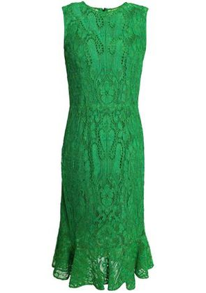 Dolce & Gabbana Woman Fluted Corded Lace Dress Green Size 40