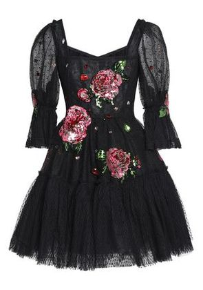 Dolce & Gabbana Woman Flared Embellished Point D'espirit And Tulle Mini Dress Black Size 40