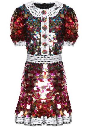 Dolce & Gabbana Woman Lace-trimmed Sequined Crepe Mini Dress Multicolor Size 40