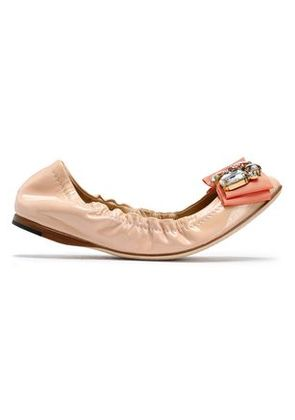 Dolce & Gabbana Woman Crystal And Bow-embellished Patent-leather Ballet Flats Neutral Size 37