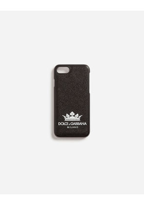 Dolce & Gabbana Hi-Tech Accessories - IPHONE 7/8 COVER IN PRINTED DAUPHINE CALFSKIN BLACK