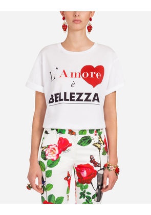Dolce & Gabbana T-Shirts and Sweatshirts - PRINTED COTTON T-SHIRT WHITE