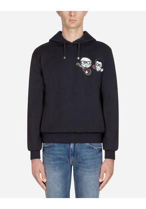 Dolce & Gabbana Sweaters - COTTON SWEATSHIRT WITH DESIGNERS' PATCHES AND HOOD BLACK
