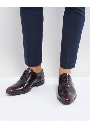 ASOS Oxford Brogue Shoes In Burgundy Leather - Burgundy