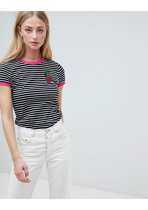 Brave Soul Pina Stripe T Shirt with Sequin Badge - White black hot pink