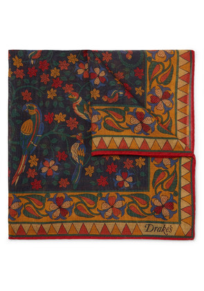 Printed Wool And Silk-blend Pocket Square