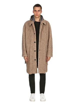 WOOL BLEND COAT W/ HOUNDSTOOTH HOOD
