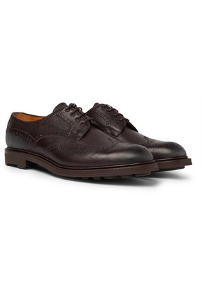 Edward Green - Borrowdale Textured-leather Wing-tip Brogues - Brown