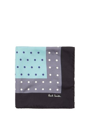 Polka dot-print silk pocket square
