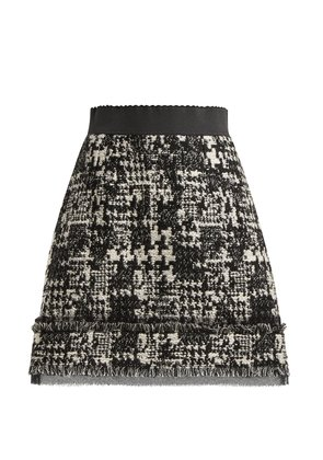 Houndstooth tweed mini skirt