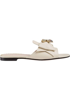 Gucci Leather slide with bow - White