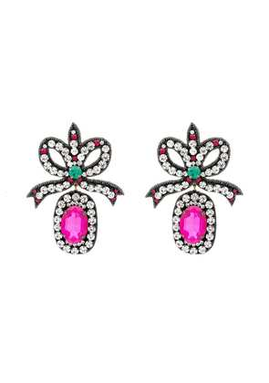 Gucci pink crystal embellished bow earrings