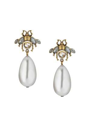 Gucci Bee earrings with drop pearls - Nude & Neutrals