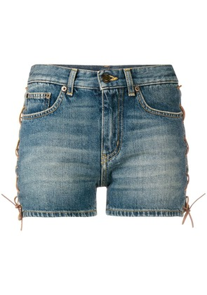 Saint Laurent stonewashed denim shorts - Blue