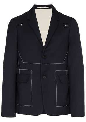 Jil Sander top stitch virgin wool blazer - Blue