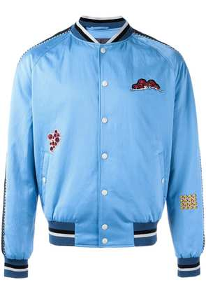 Lanvin embroidered patch baseball bomber - Blue
