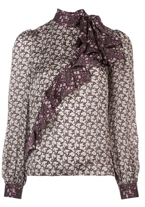 Co ruffle detail printed blouse - Grey