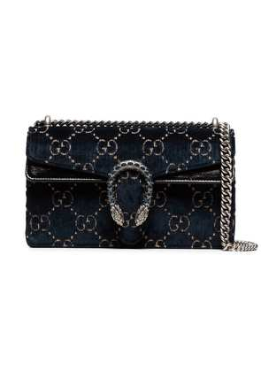 Gucci Dionysus leather-trimmed embossed velvet bag - Blue