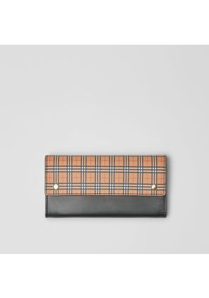 Burberry Small Scale Check and Leather Continental Wallet, Yellow