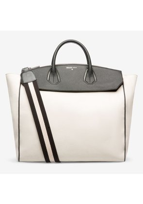 Bally Sommet Brown, Men's cotton canvas tote bag in natural