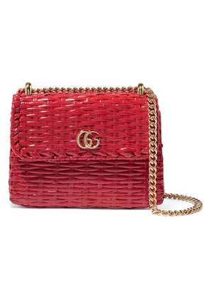 Gucci - Linea Cestino Mini Coated-wicker Shoulder Bag - Red